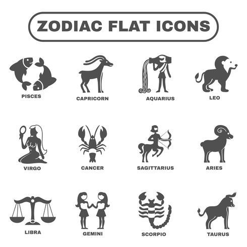 Zodiac ikoner uppsättning vektor