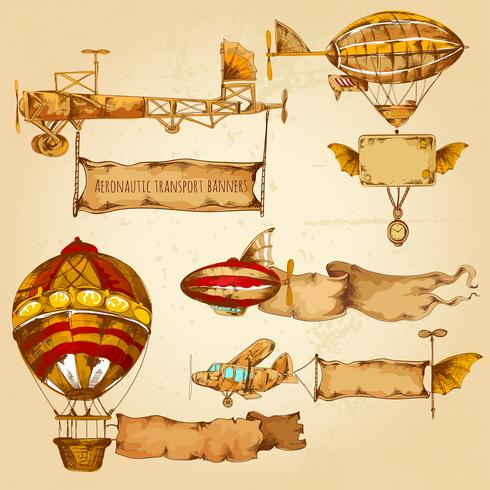 Luftschiffe mit Banner vektor