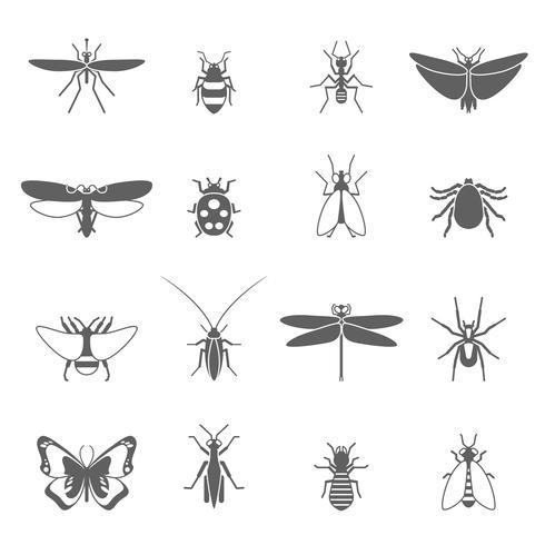Insekten schwarze Icons Set vektor
