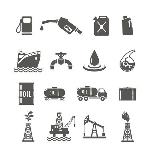 Mineralöl-Industrie-Icon-Set vektor