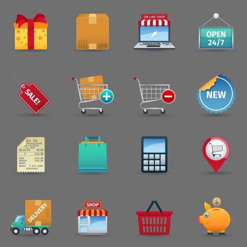 Shopping ikoner ställa in vektor