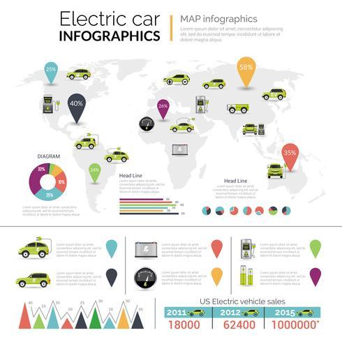 elektriska bilinfographics vektor