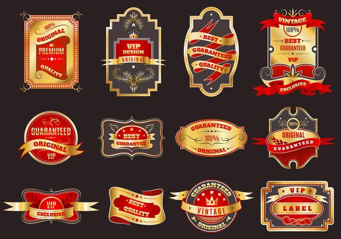 Gyllene retro etiketter emblem samling vektor