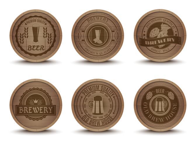 Trä öl emblem mattor ikoner uppsättning vektor