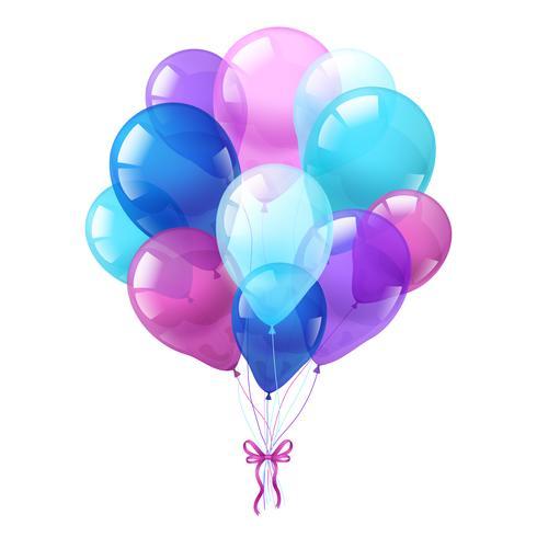 Färgglada ballonger gäng vit bakgrund vektor