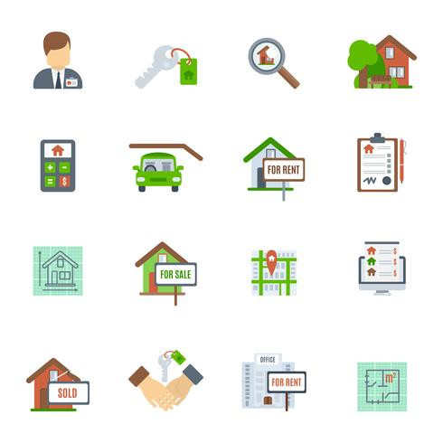Immobilien-flache Ikone vektor