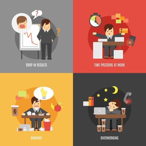 Stress på jobbet platt ikoner komposition vektor