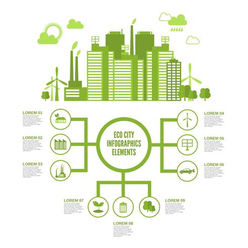 Öko-Stadt-Infografik vektor