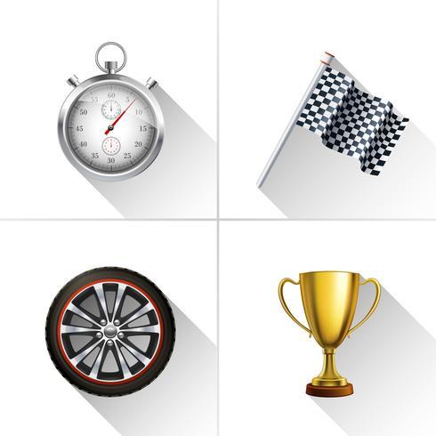 Racing ikoner Set vektor