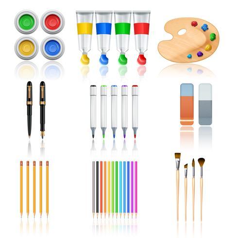Tecknings- och målarverktyg vektor