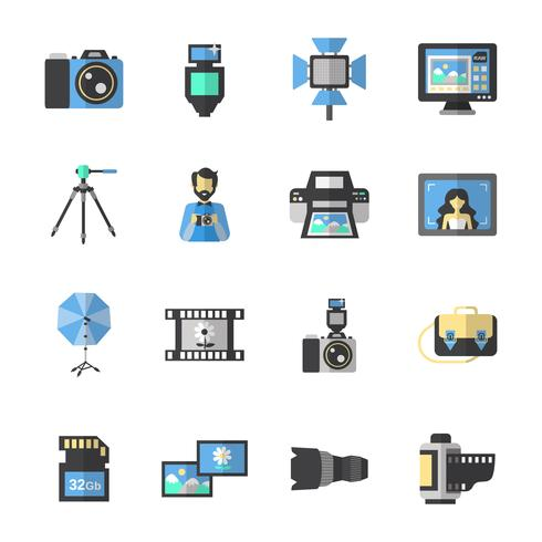 Fotografiska ikoner Flat vektor