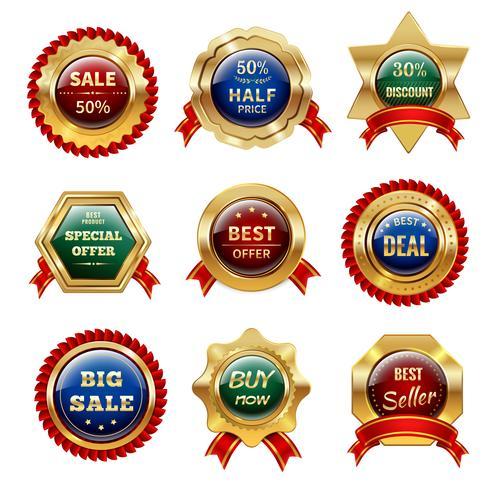 gyllene försäljningsetiketter vektor