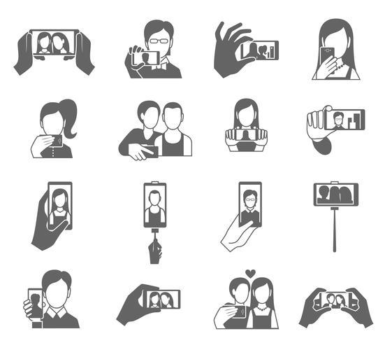 Selfie ikoner sätta vektor