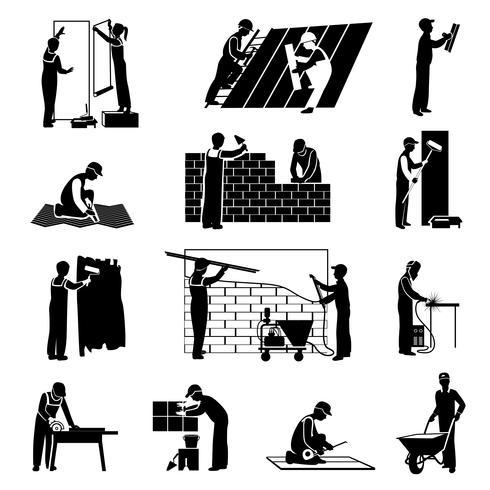 Arbeiter Icons schwarz vektor