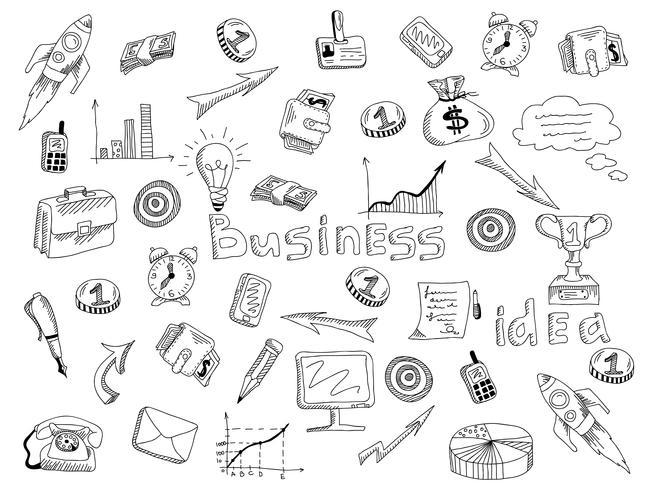 Geschäftsstrategieikonen umreißen Skizze vektor