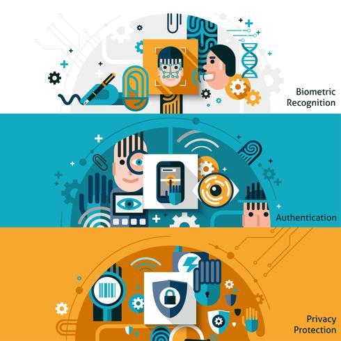 Biometriska autentiseringsbanners vektor