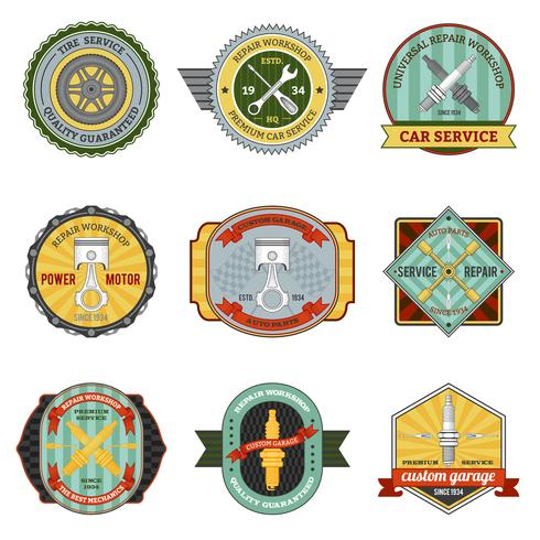 Reparation Workshop Retro Badges vektor