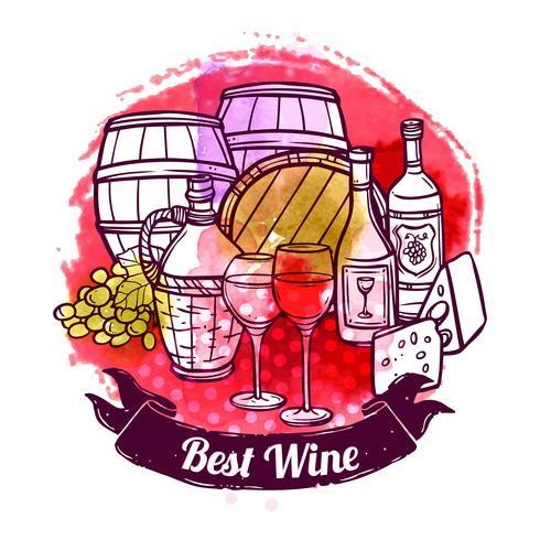 Vin skiss illustration vektor