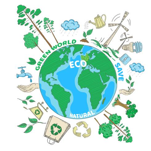 doodle ekologi koncept vektor