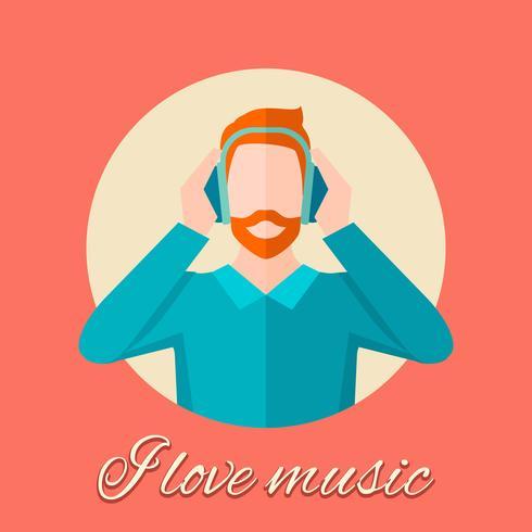 Man lyssnar musik vektor