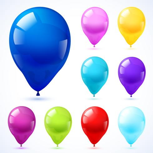 Färgballonger ikoner uppsättning vektor