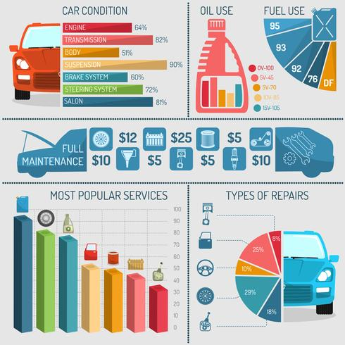 Auto-Service-Infografiken vektor