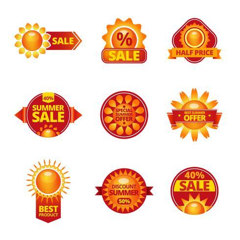 Sommarförsäljning etiketter set vektor