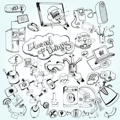 Internet of Things Doodles vektor