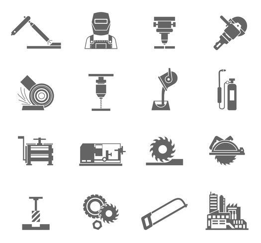 Metallbearbetning Icon Set vektor