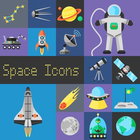 Space ikoner Flat vektor