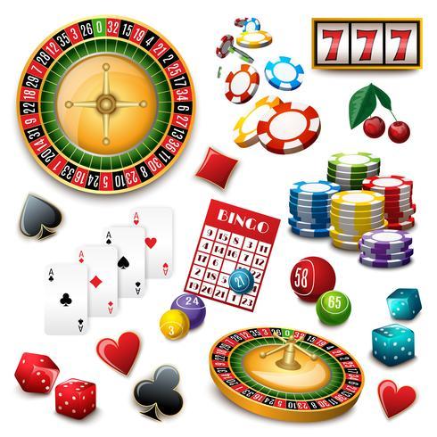 Kasino symboler sätta komposition poster vektor