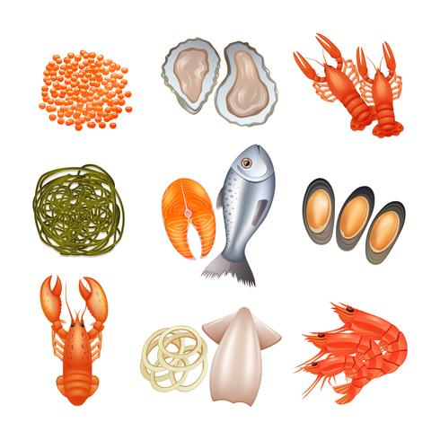 Meeresfrüchte-Icons Set vektor