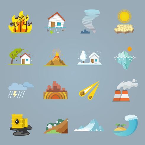 Naturkatastrophen-Ikonen flach vektor