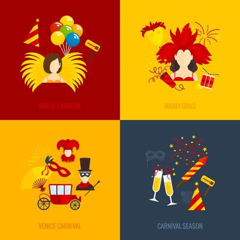 Carnival ikoner platt komposition vektor