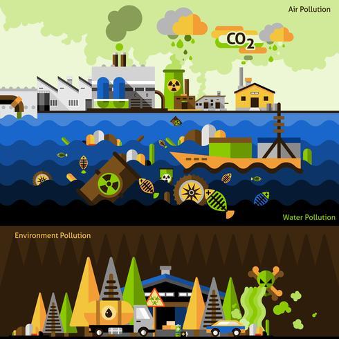 Förorening Banners Set vektor