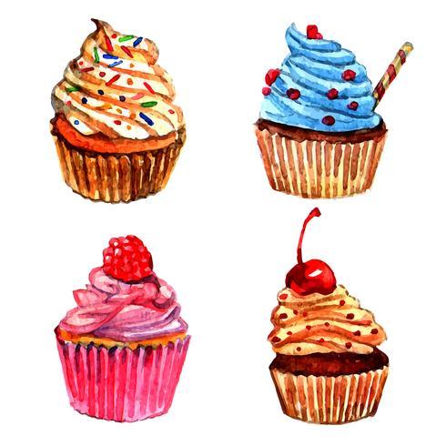 Aquarell Cupcakes Icons Set vektor