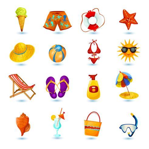 Sommar helgdag ikonuppsättning vektor