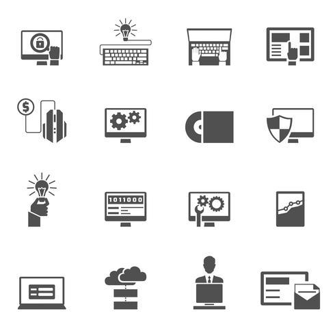 Programmentwicklungssymbole schwarz vektor