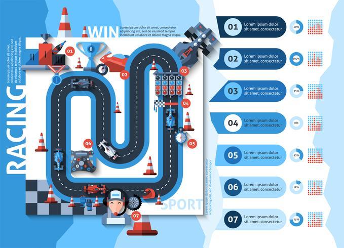 Racing Infografiken Set vektor