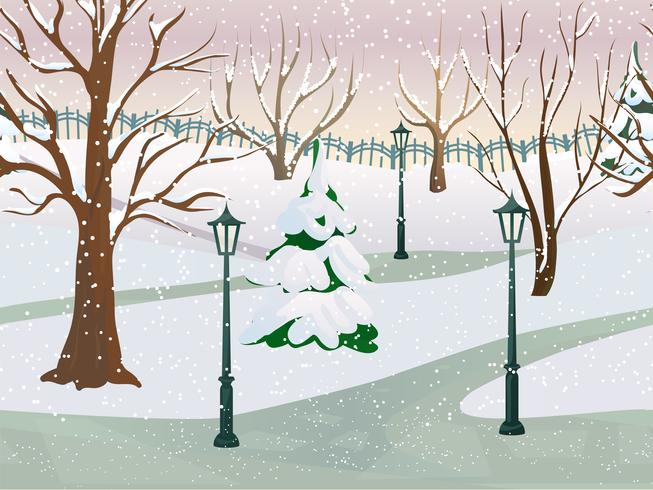 vinter parklandskap vektor