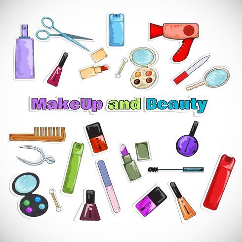 Schönheitssalon Doodles vektor