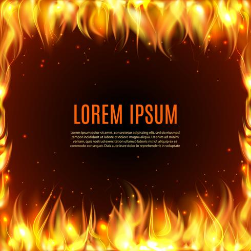 Brinnande eldflamma på den svarta bakgrunden vektor