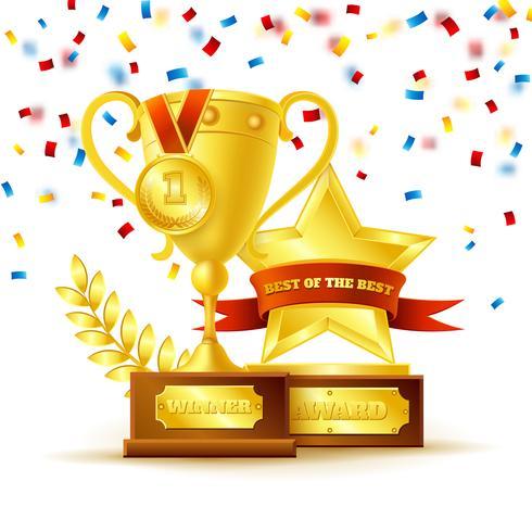 Siegerpokal mit Goldmedaillenkonzept vektor