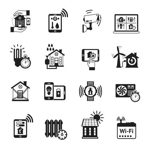 Smart house black icons set vektor