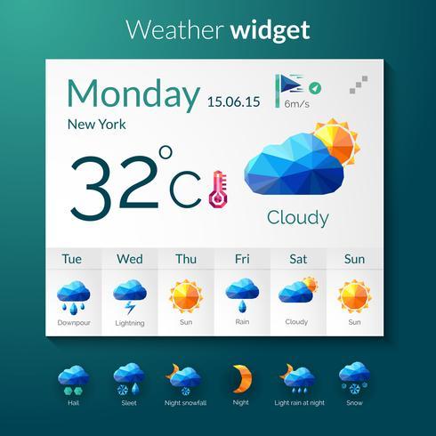 Polygonales Widget für das Wetter vektor
