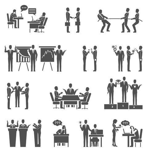 Symbole für die Zusammenarbeit festgelegt vektor