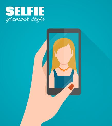 Selfie platt affisch vektor