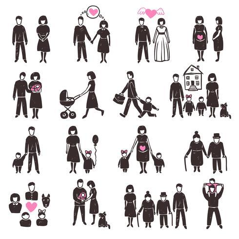 Familien-Icon-Set vektor