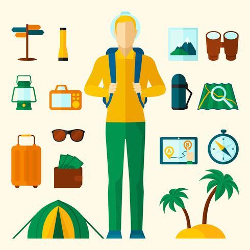 Turist ikoner platt uppsättning vektor