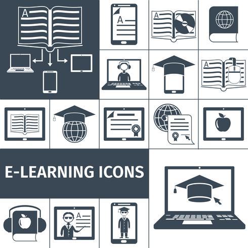 E-Learning-Icon Schwarzes Set vektor